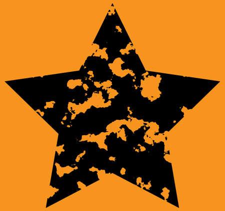 Star on orange background. Grunge. Vector illustration. Vector