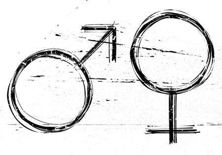 Mannelijke en vrouwelijke symbolen op witte achtergrond grunge. Vector-illustraties. Stock Illustratie