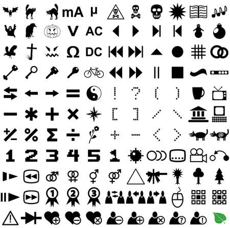 121 vector pictograms. Black-and-white contour. Set 4. Vector