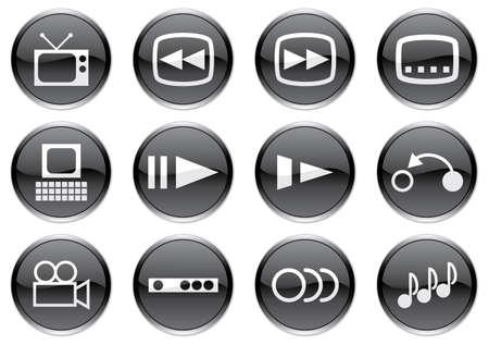 Gadget icons set. White - black palette. Vector illustration. Stock Vector - 3779030