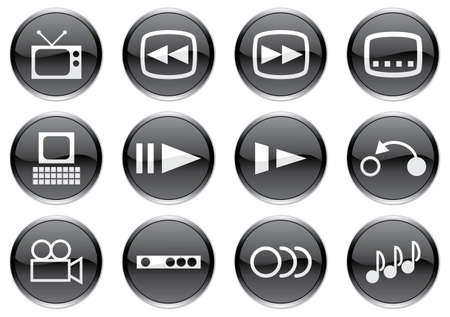 Gadget icons set. White - black palette. Vector illustration. Stock Vector - 3779030