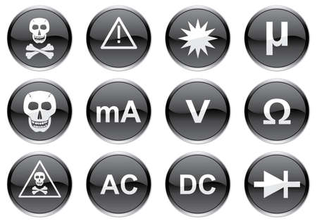 Gadget icons set. White - black palette. Vector illustration.