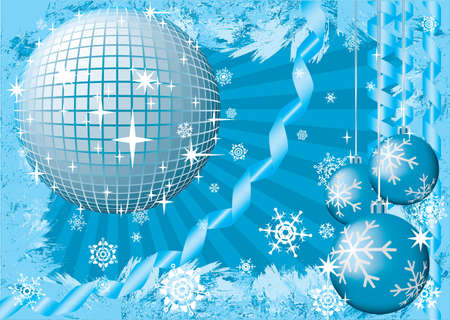 computer dancing: To give a christmas snow party. Greeting card. Blue palette. Raster illustration.