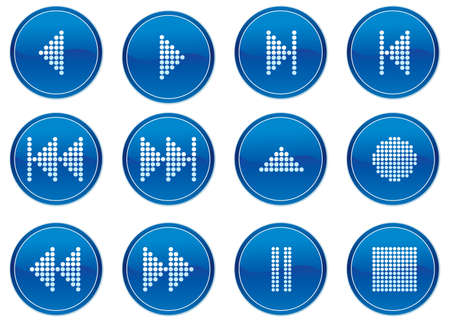 Multimedia navigation buttons set. White - dark blue palette. Vector illustration. Stock Vector - 3784764