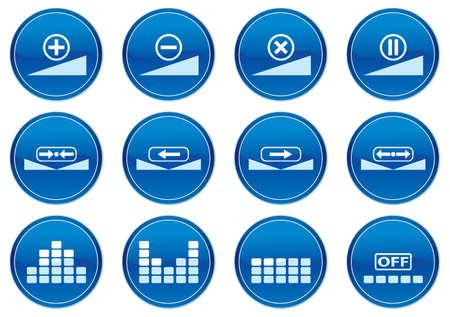 equalize: Gadget icons set. White - dark blue palette. Vector illustration. Illustration