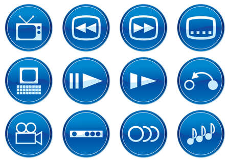 Gadget icons set. White - dark blue palette. Vector illustration. Stock Vector - 3784744
