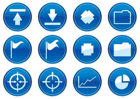 Gadget icons set. White - dark blue palette. Vector illustration. Stock Vector - 3784737