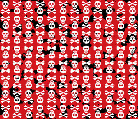 Skulls grunge background. Fun. Vector illustration. Vector