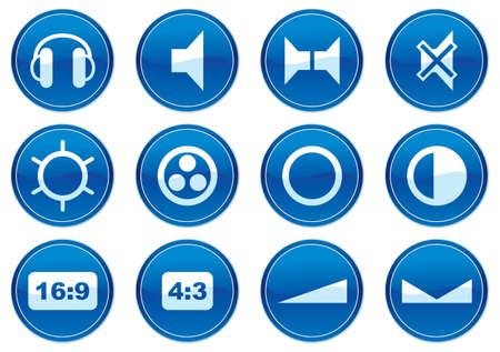 16 9 display: Gadget icons set. White - dark blue palette. Vector illustration. Illustration
