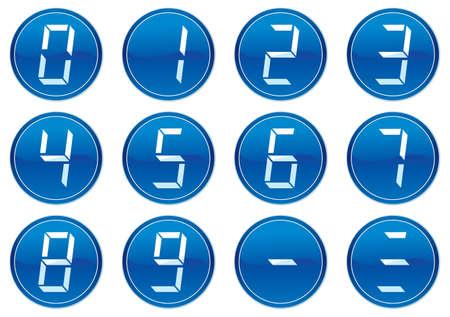 Liquid crystal digits icons set. White - dark blue palette. Vector illustration. Vector