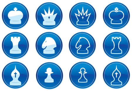 Chess icons set. White - dark blue palette. Vector illustration. Stock Vector - 3784748