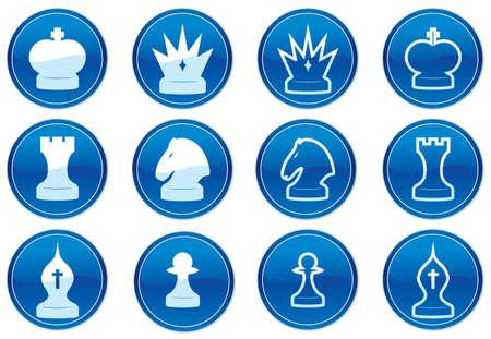 Chess icons set. White - dark blue palette. Vector illustration. Stock Vector - 3784748