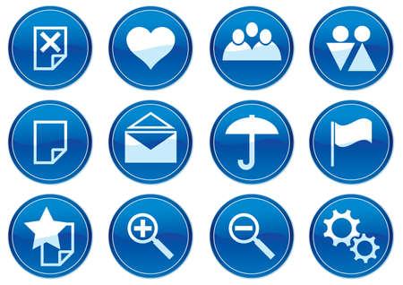 Gadget icons set. White - dark blue palette. Vector illustration. Stock Vector - 3784732