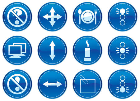 Gadget icons set. White - dark blue palette. Vector illustration. Vector