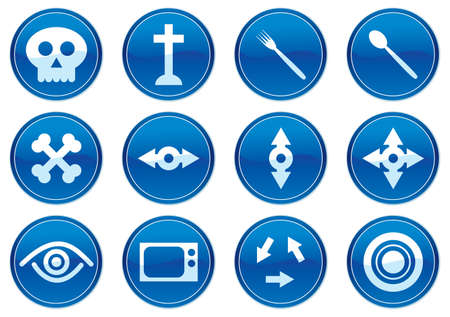 Gadget icons set. White - dark blue palette. Vector illustration. Stock Vector - 3784741