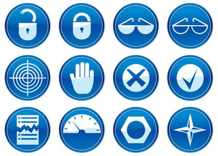 gadget: Gadget ic�nes ensemble. White - palette bleu fonc�. Illustration du vecteur.