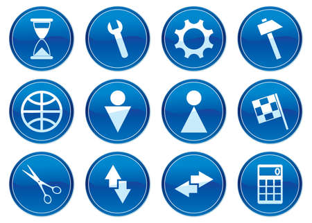 global settings: Gadget icons set. White - dark blue palette. Vector illustration. Illustration