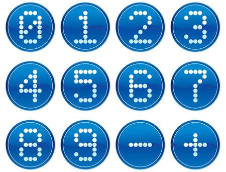 Matrix digits icons set. White - dark blue palette. Vector illustration. Vector