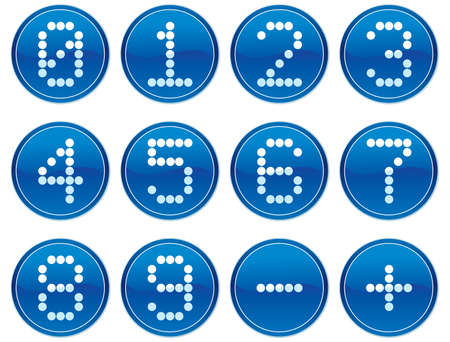 null: Matrix digits icons set. White - dark blue palette. Vector illustration. Illustration