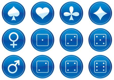 Games icons set. White - dark blue palette. Vector illustration. Vector