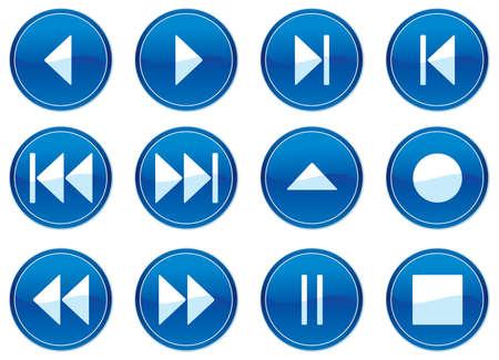 playback: Multimedia navigation buttons set. White - dark blue palette. Vector illustration.
