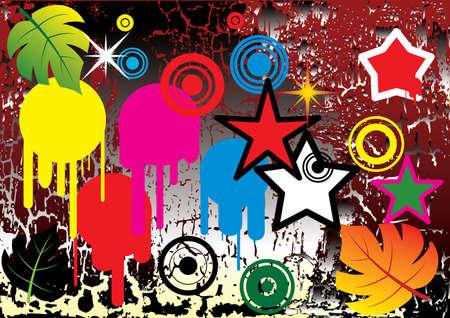 Design elements on grunge background. Vector illustration.