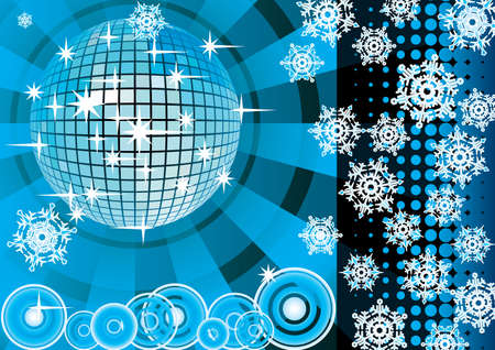 To give a blue winter party. Card. Vector illustration.