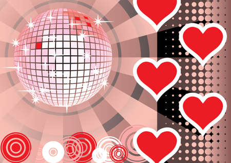 computer dancing: To give a pink lovers party. Card. Vector illustration. Illustration