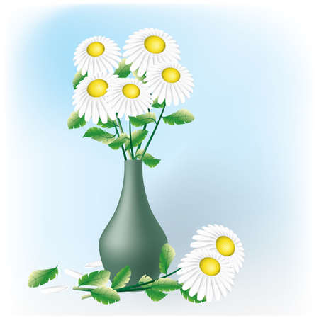 Camomiles bouquet in vase. Greeting card. Vector illustration. Vector