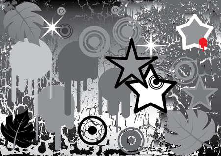 Design elements on grunge background. Monochrome variant. Vector illustration. Illustration