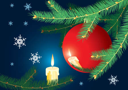 Christmas-tree branch and candle. Dark blue background. Vector illustration. Vector