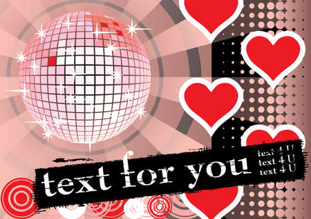To give a pink lovers party. Card for you text. Vector illustration. Vector