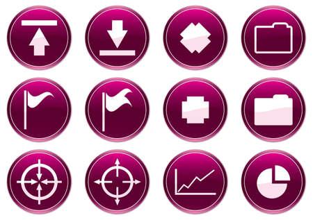 Gadget icons set. White - purple palette. Vector illustration. Stock Vector - 3858306