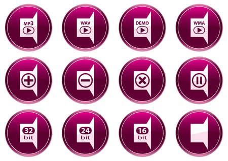 Gadget icons set. White - purple palette. Vector illustration. Vector