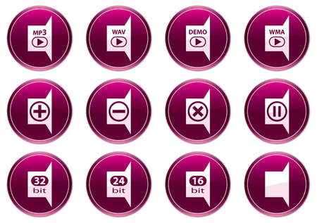 Gadget icons set. White - purple palette. Vector illustration. Vector