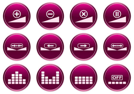 preset: Gadget icons set. White - purple palette. Vector illustration.