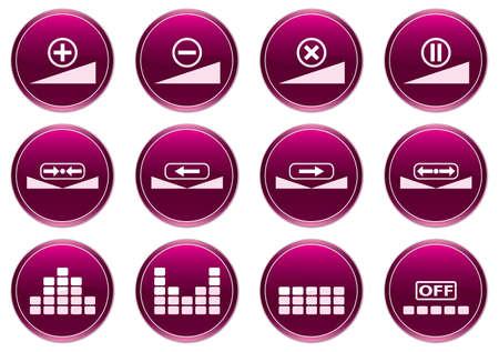 preset: Gadget icons set. White - purple palette. Vector illustration.
