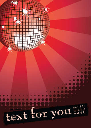 Mirror disco ball on red rays background. Halftone grunge banner for you text. Vector illustration. Vector