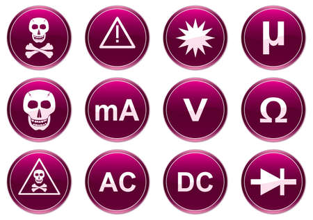 Gadget icons set. White - purple palette. Vector illustration. Stock Vector - 3858317