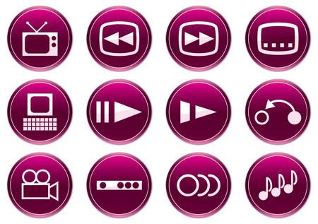 Gadget icons set. White - purple palette. Vector illustration. Stock Vector - 3858312