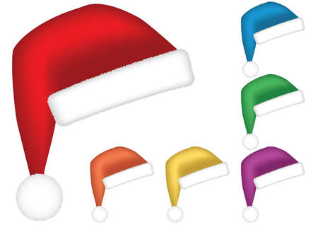 fur cap: Santa caps. Multicolor collection isolated on white background. Vector illustration.