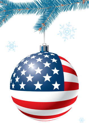Christmas ball with US flag. Greeting card. Vector illustration. Ball isolated on white background.