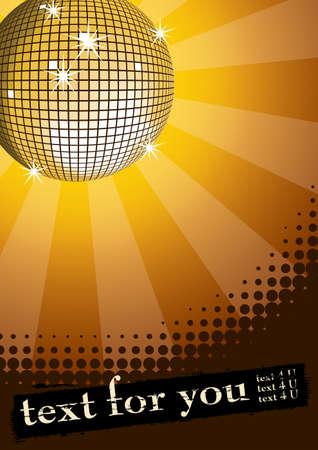 Spiegel Disco Kugel auf gelben Hintergrund Strahlen. Halftone grunge Banner für Sie Text. Vector illustration.