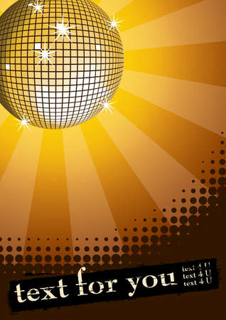 Mirror disco ball on yellow rays background. Halftone grunge banner for you text. Vector illustration. Vector