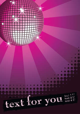 Mirror disco ball on purple rays background. Halftone grunge banner for you text. Vector illustration.