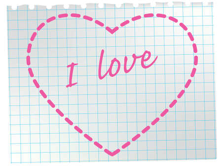 Heart on notepad sheet. Valentine greeting card. Vector illustration. Stock Vector - 4138949