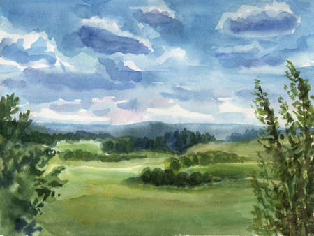 Summer landscape. Really watercolor illustration. illustration