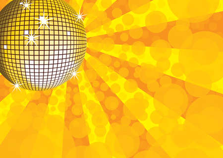 Orange mirror disco ball. Vector illustration. Stock Vector - 4432339