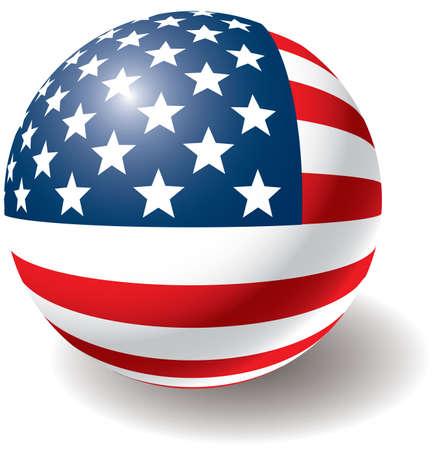 ville usa: USA flag texture balle. Design �l�ment. Isolated on white. Vector illustration.