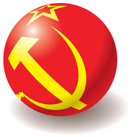 ex: USSR flag texture on ball. Design element. Isolated on white. Vector illustration.